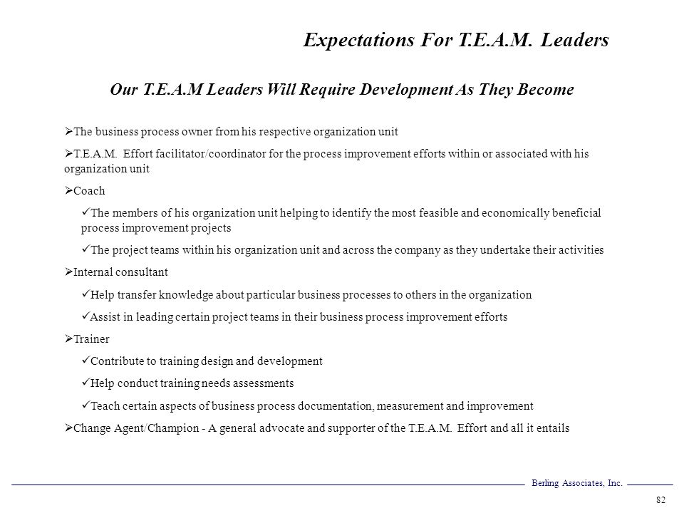 Our T.E.A.M Leaders Will Require Development As They Become