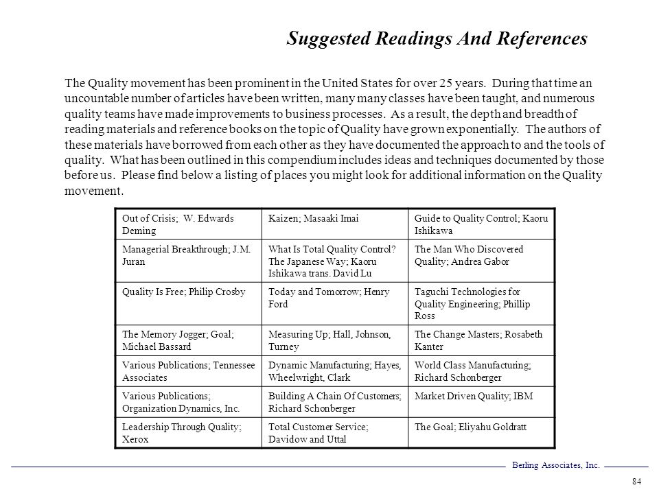 Suggested Readings And References