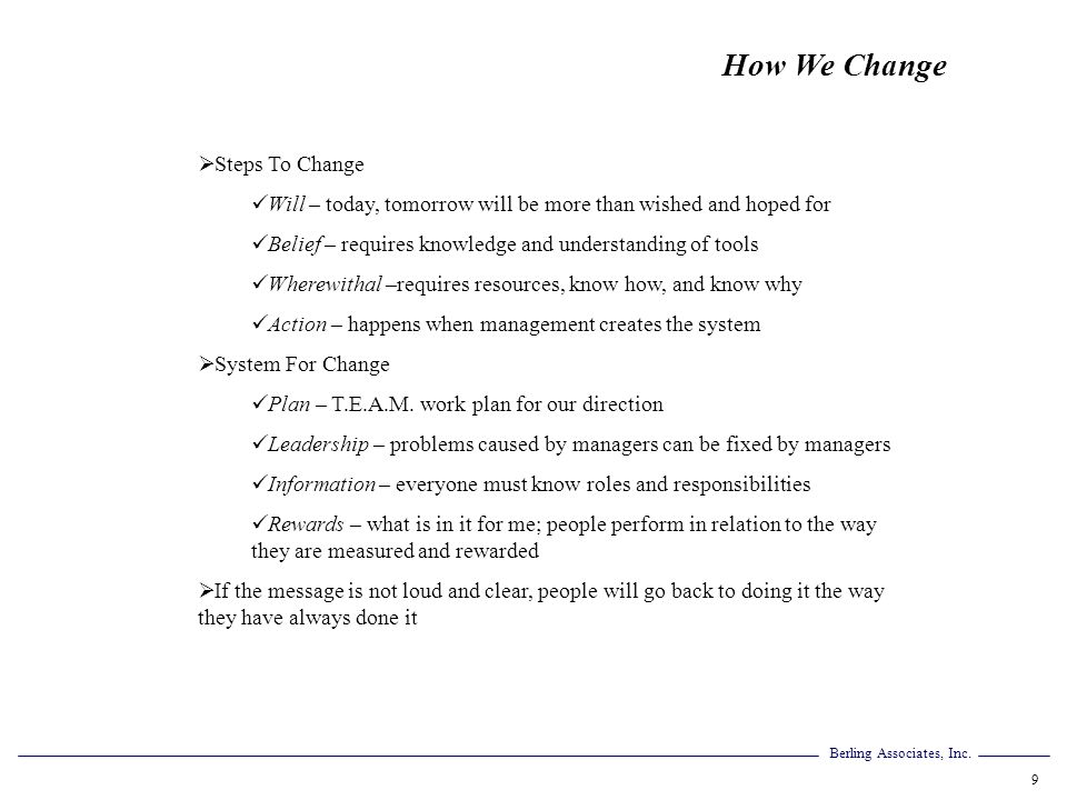 How We Change Steps To Change