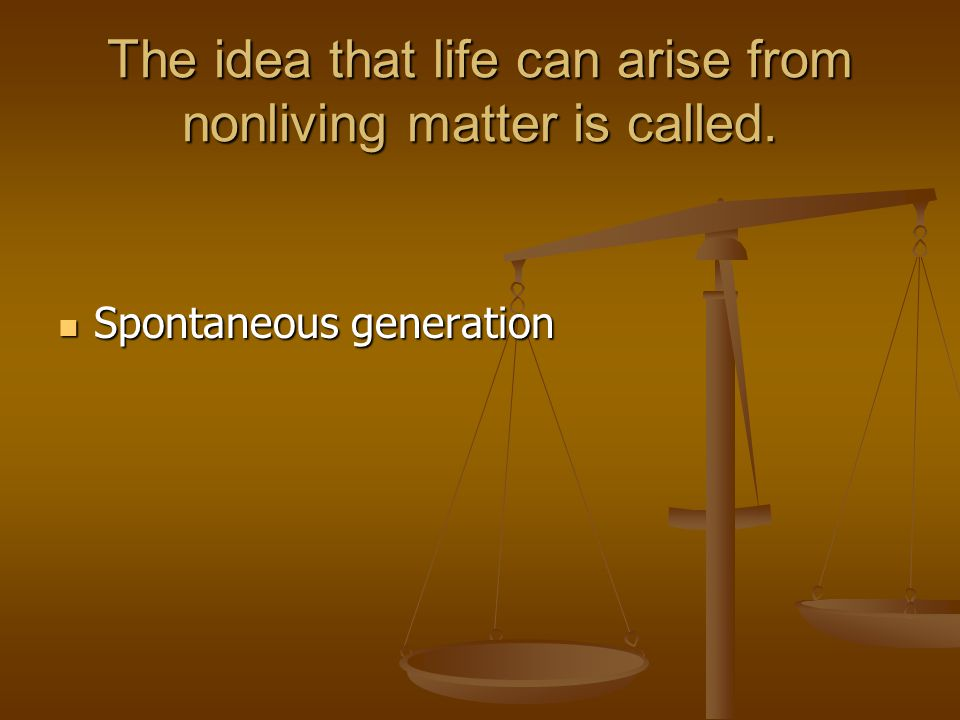 The idea that life can arise from nonliving matter is called.