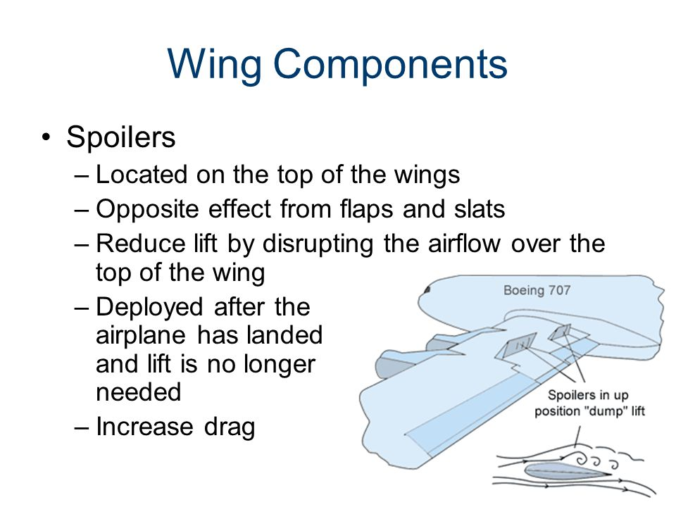Wing Components Spoilers Located on the top of the wings