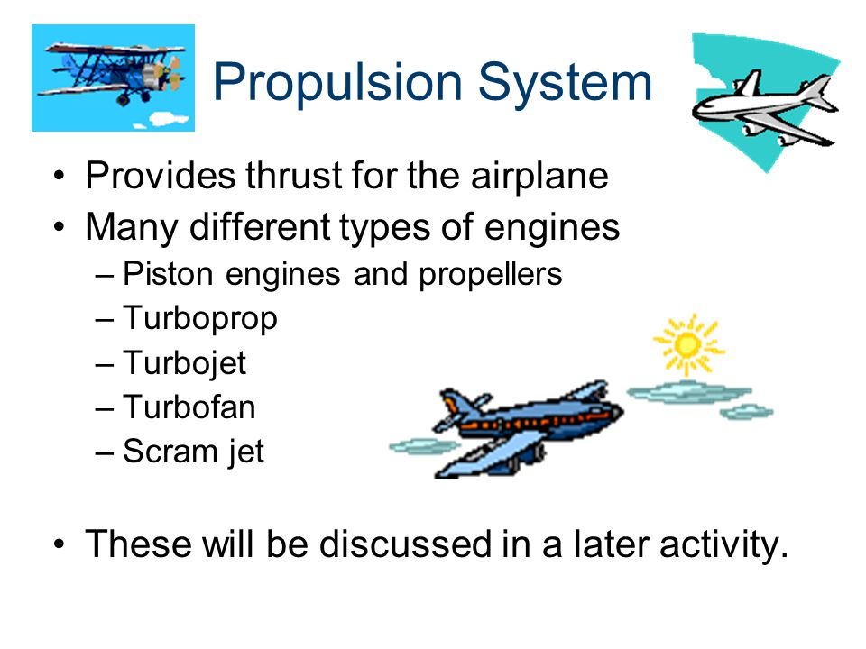 Propulsion System Provides thrust for the airplane