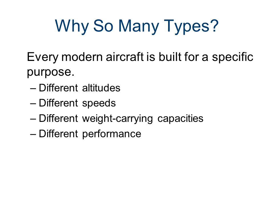 Parts of an Aircraft Gateway To Technology® Unit 4– Lesson 4.2– Aeronautics. Why So Many Types
