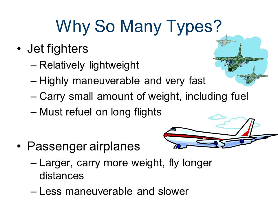 Why So Many Types Jet fighters Passenger airplanes