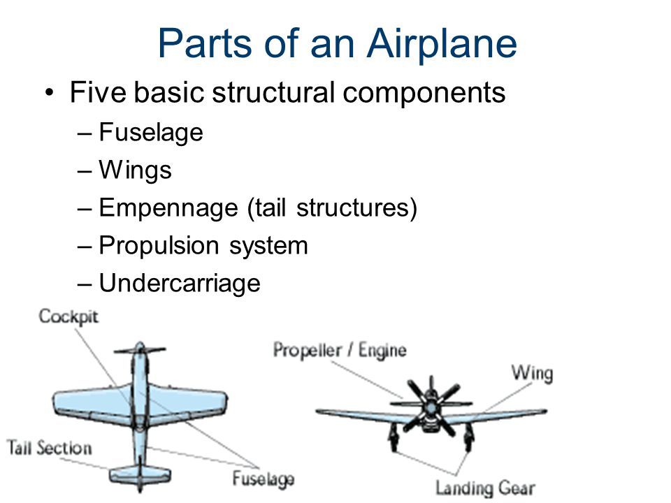 Parts of an Airplane Five basic structural components Fuselage Wings