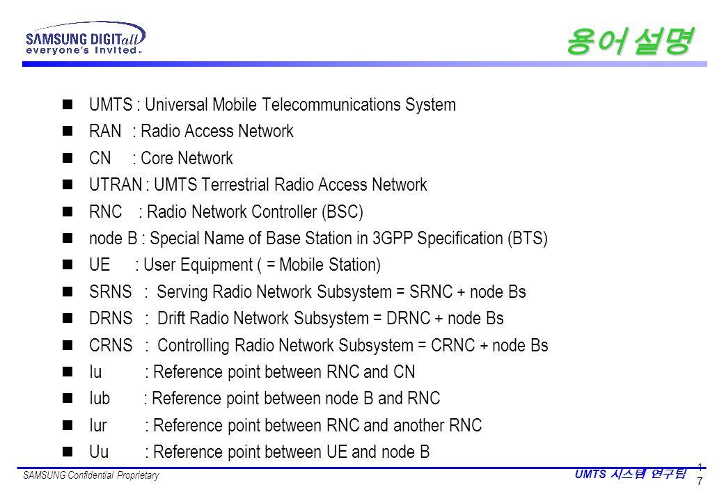 용어 설명 UMTS : Universal Mobile Telecommunications System