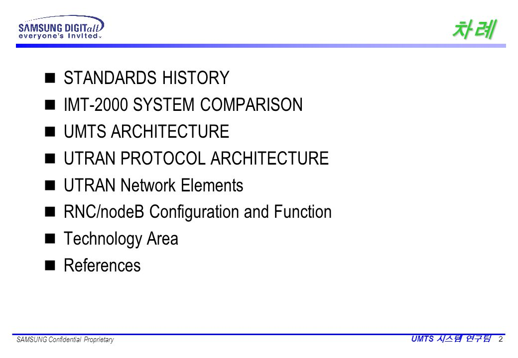 차례 STANDARDS HISTORY IMT-2000 SYSTEM COMPARISON UMTS ARCHITECTURE