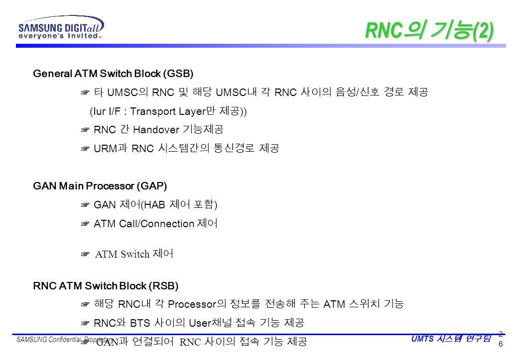 RNC의 기능(2) General ATM Switch Block (GSB)