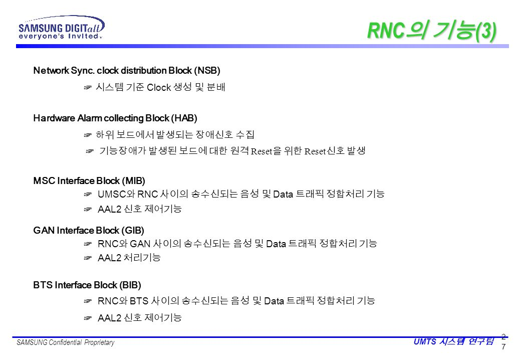 RNC의 기능(3) Network Sync. clock distribution Block (NSB)