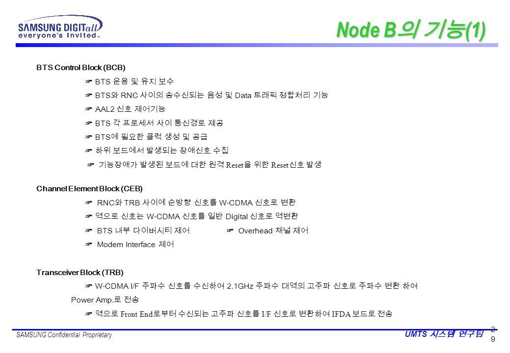 Node B의 기능(1) BTS Control Block (BCB) ☞ BTS 운용 및 유지 보수