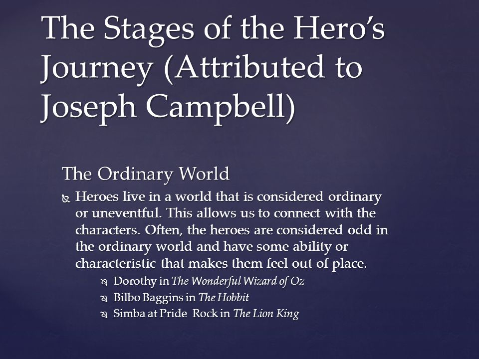 The Stages of the Hero's Journey (Attributed to Joseph Campbell)