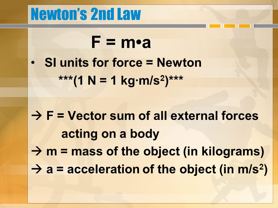 Newton's 2nd Law F = m•a SI units for force = Newton