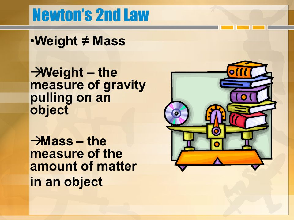 Newton's 2nd Law Weight ≠ Mass