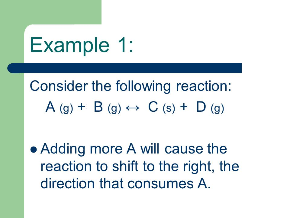 Example 1: Consider the following reaction: