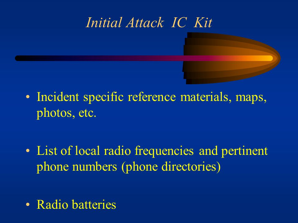 Initial Attack IC Kit Incident specific reference materials, maps, photos, etc.