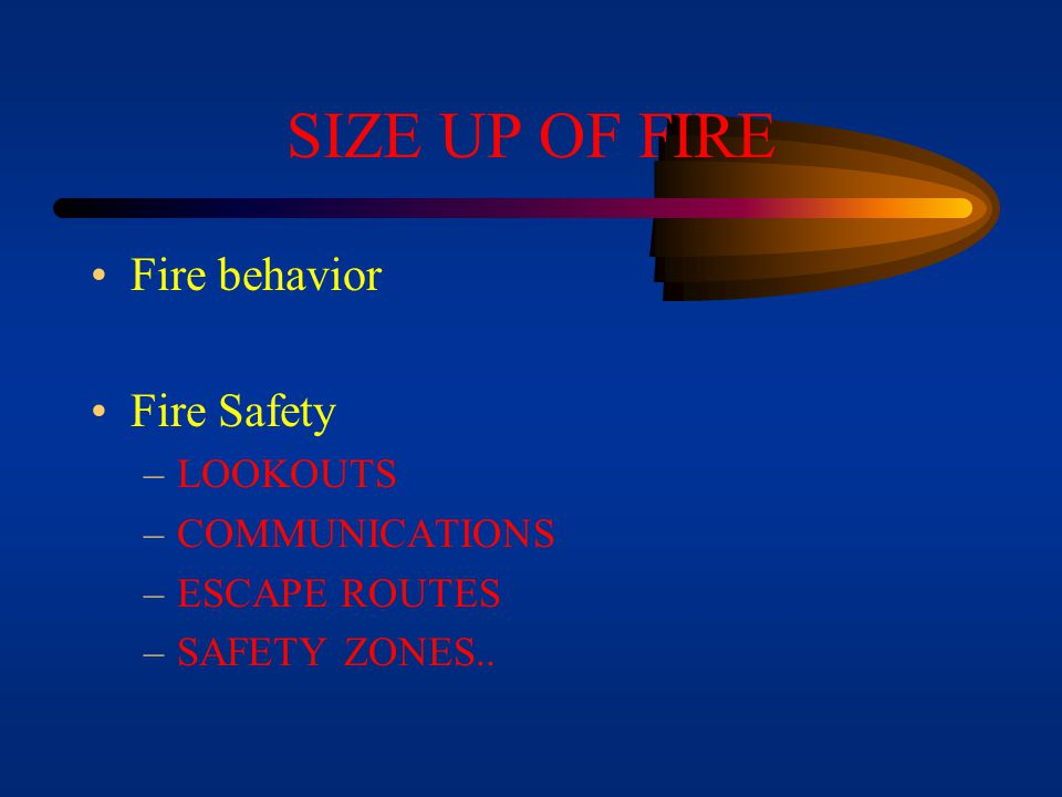 SIZE UP OF FIRE Fire behavior Fire Safety LOOKOUTS COMMUNICATIONS