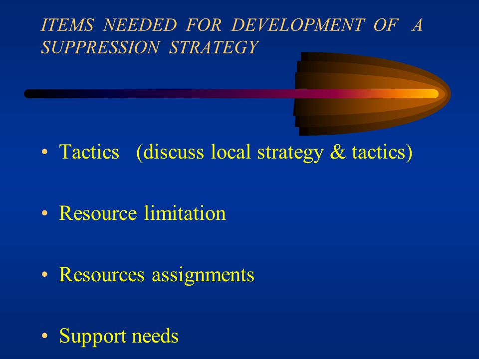 ITEMS NEEDED FOR DEVELOPMENT OF A SUPPRESSION STRATEGY