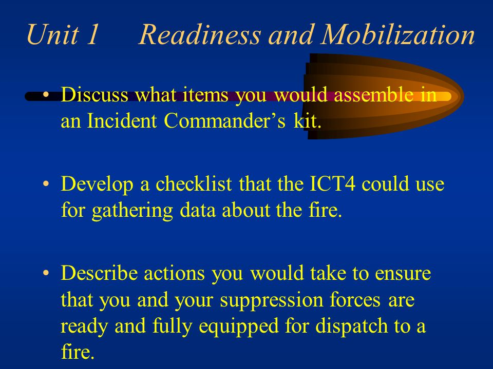 Unit 1 Readiness and Mobilization