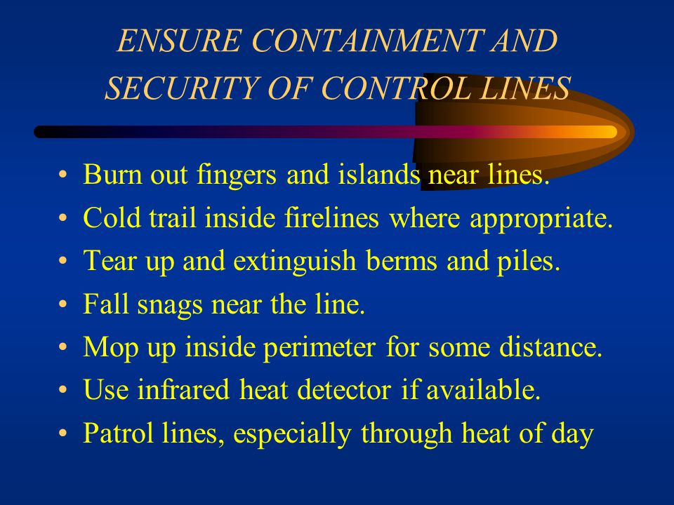 ENSURE CONTAINMENT AND SECURITY OF CONTROL LINES