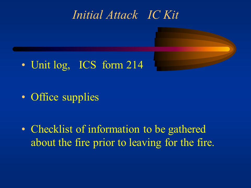 Initial Attack IC Kit Unit log, ICS form 214 Office supplies