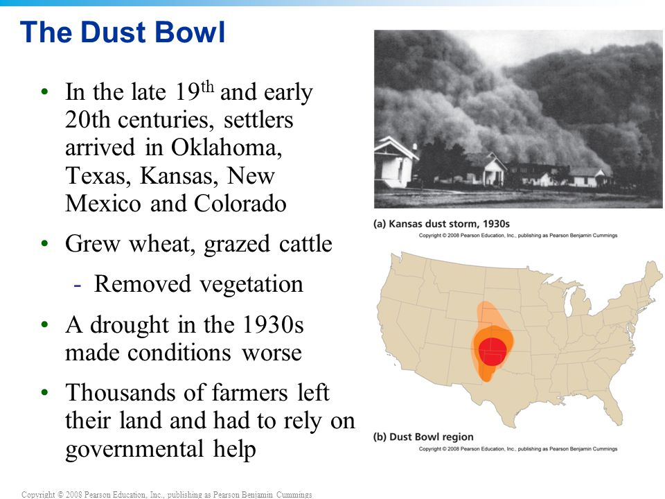 The Dust Bowl In the late 19th and early 20th centuries, settlers arrived in Oklahoma, Texas, Kansas, New Mexico and Colorado.