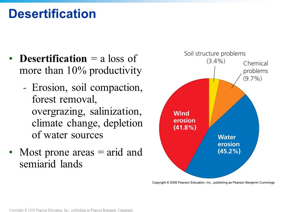 Desertification Desertification = a loss of more than 10% productivity