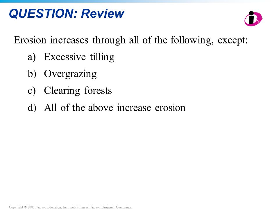 QUESTION: Review Erosion increases through all of the following, except: Excessive tilling. Overgrazing.