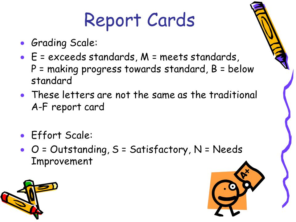 Report Cards Grading Scale: