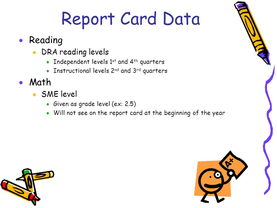 Report Card Data Reading Math DRA reading levels SME level
