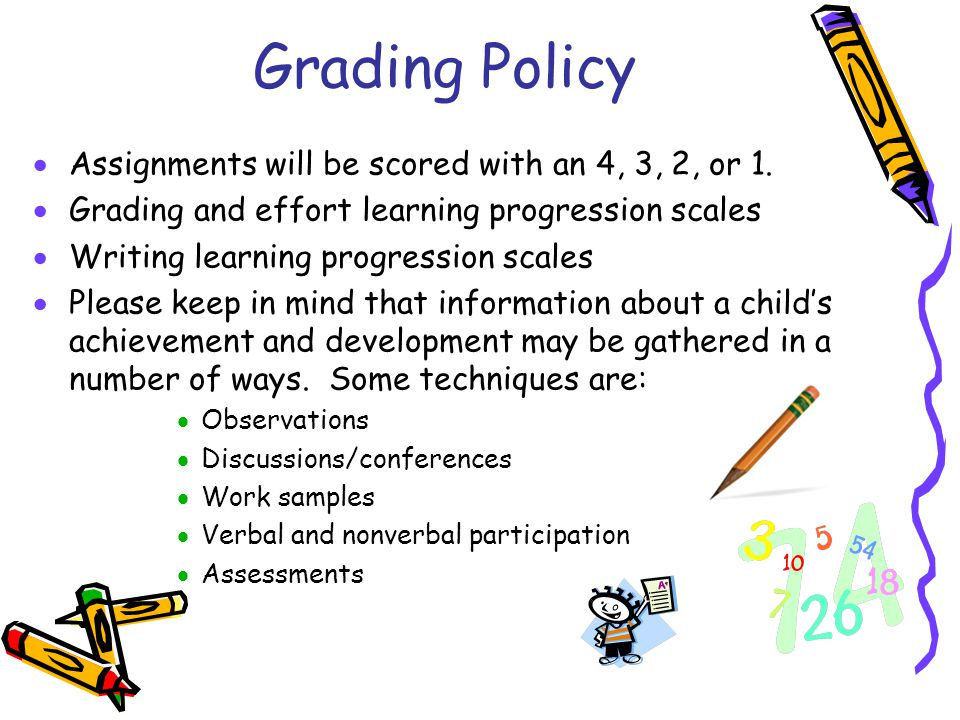 Grading Policy Assignments will be scored with an 4, 3, 2, or 1.