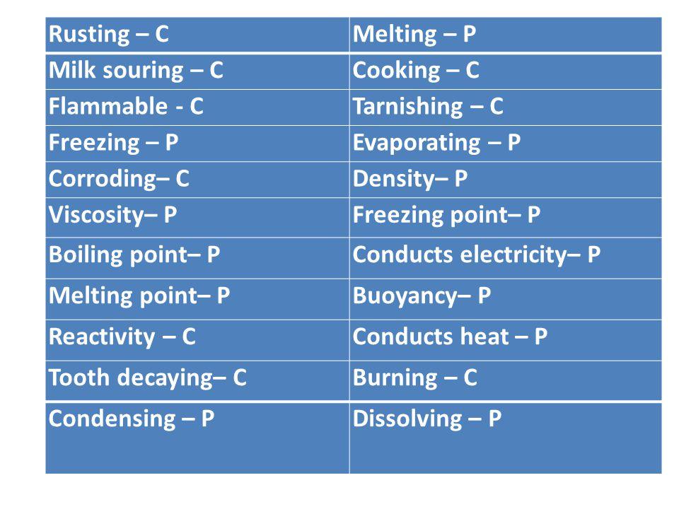 Rusting – C Melting – P. Milk souring – C. Cooking – C. Flammable - C. Tarnishing – C. Freezing – P.