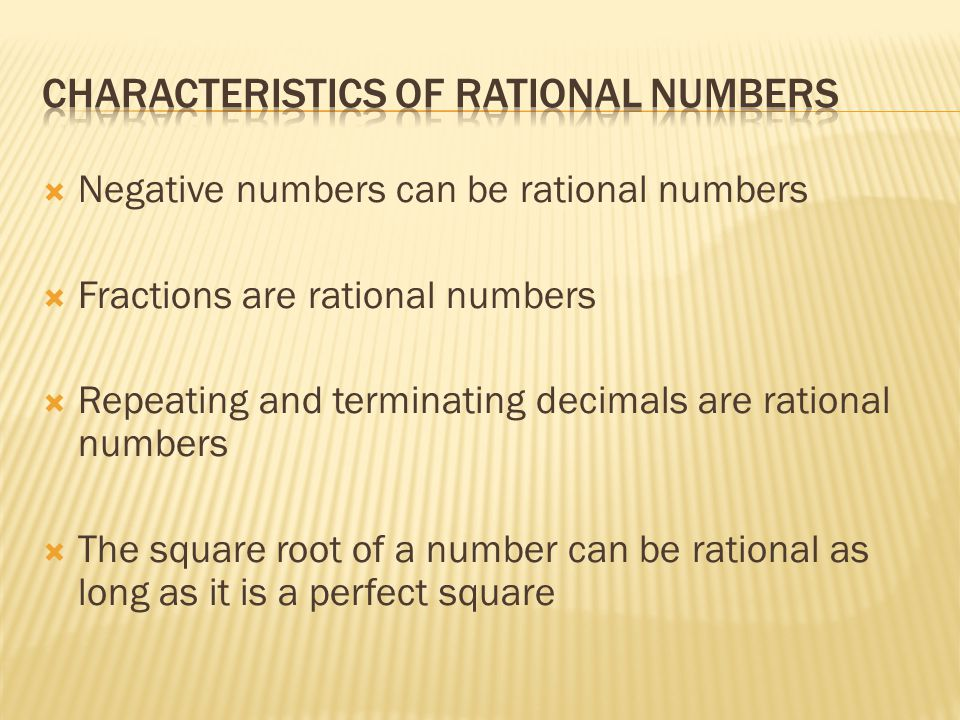 Characteristics of rational Numbers