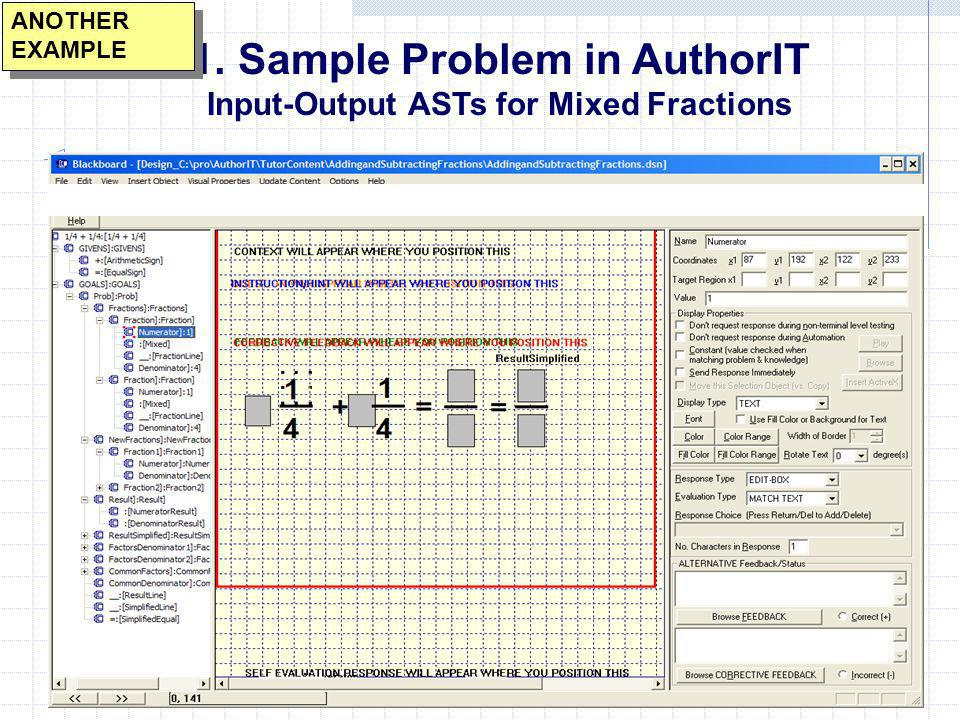 Sample Problem in AuthorIT Input-Output ASTs for Mixed Fractions