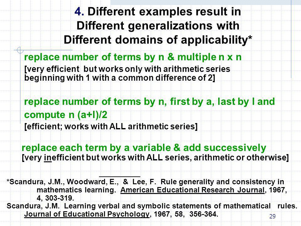 4. Different examples result in Different generalizations with Different domains of applicability*