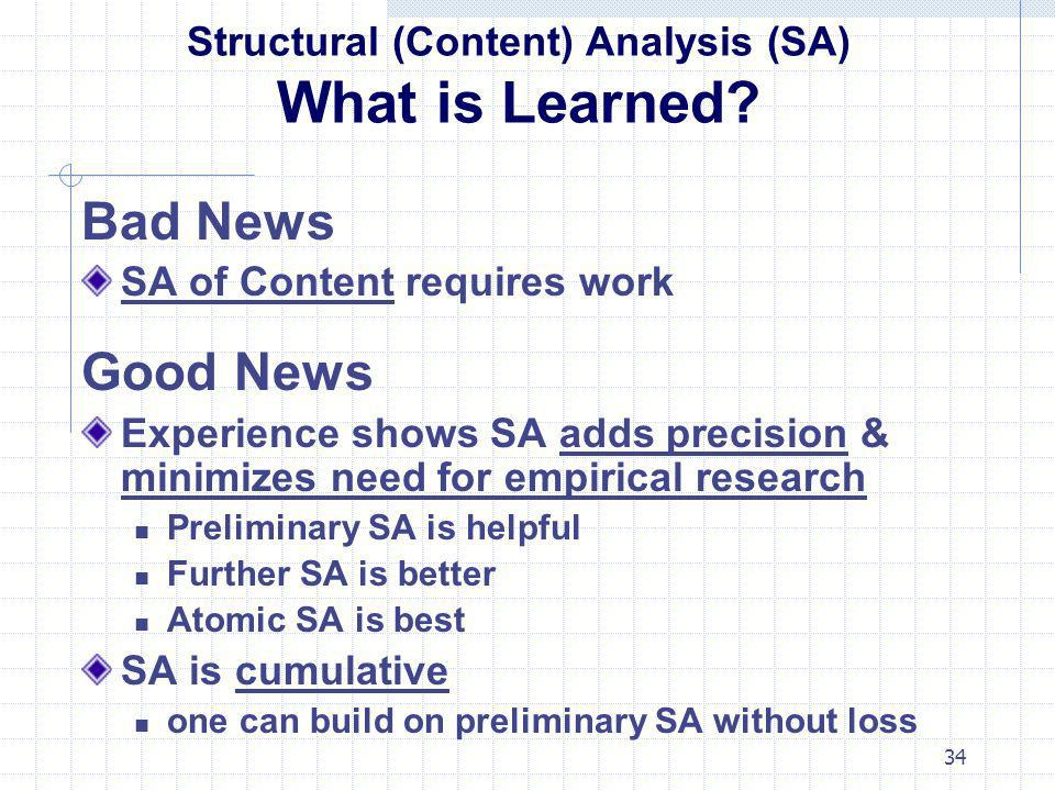 Structural (Content) Analysis (SA) What is Learned