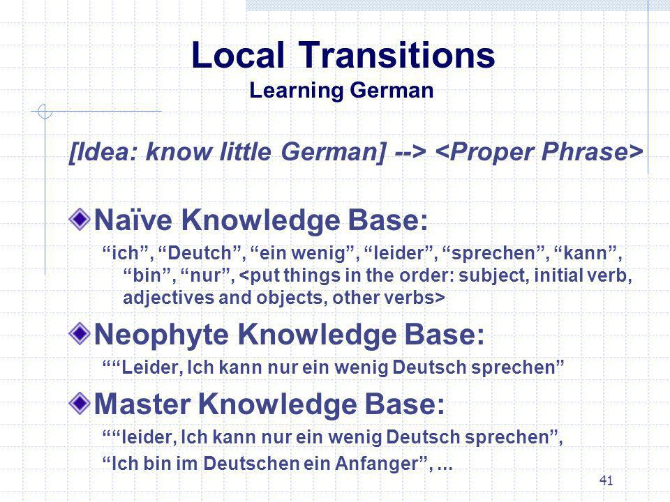Local Transitions Learning German
