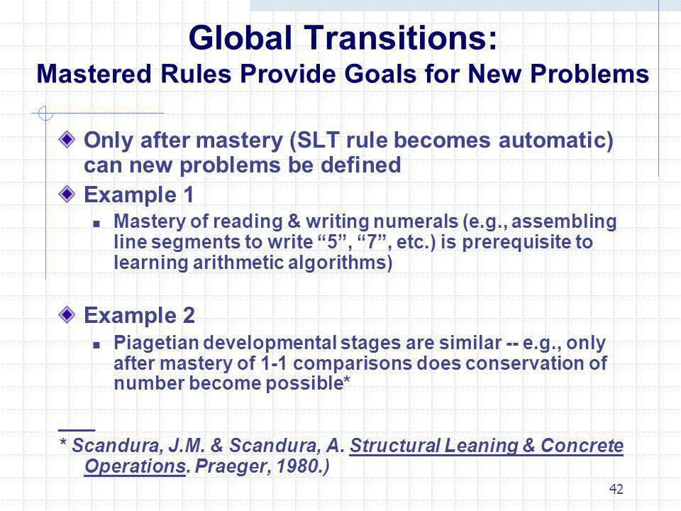 Global Transitions: Mastered Rules Provide Goals for New Problems