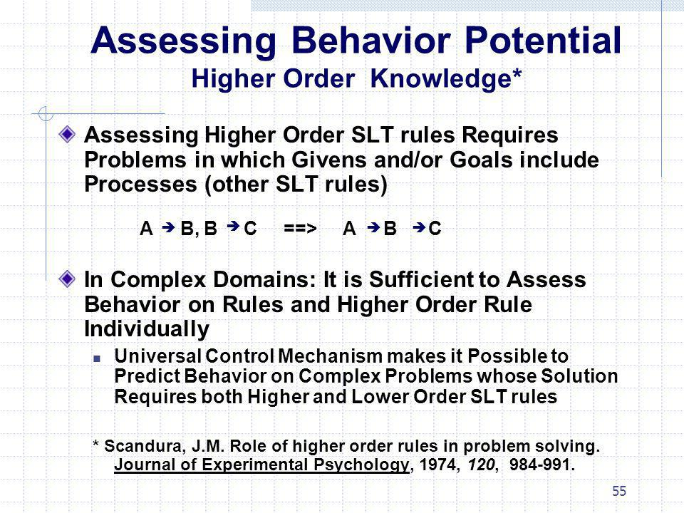 Assessing Behavior Potential Higher Order Knowledge*