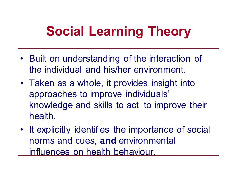 understanding social promotion Social and behavioral theories 3 theory and why it is important  a theory presents a systematic way of understanding events, behaviors and/or situations.