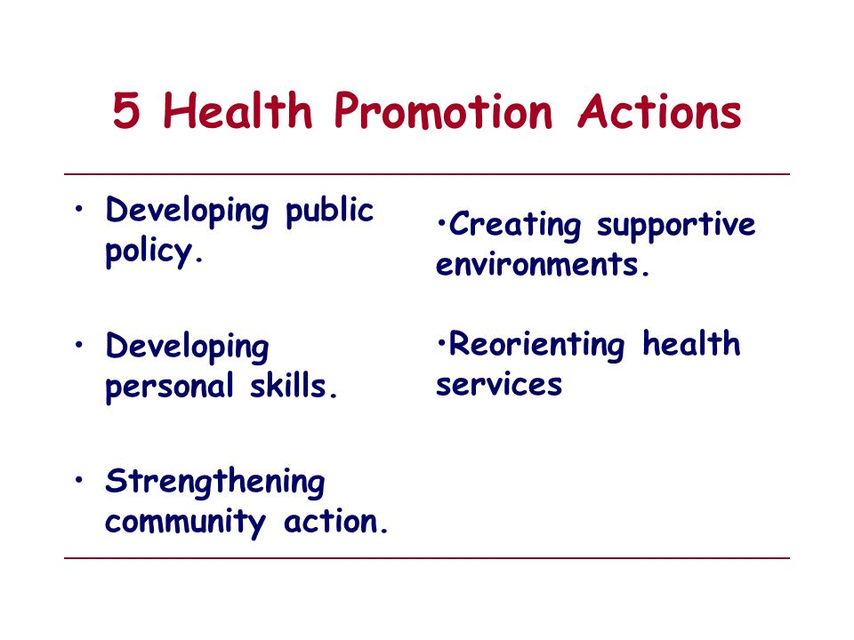 5 Health Promotion Actions