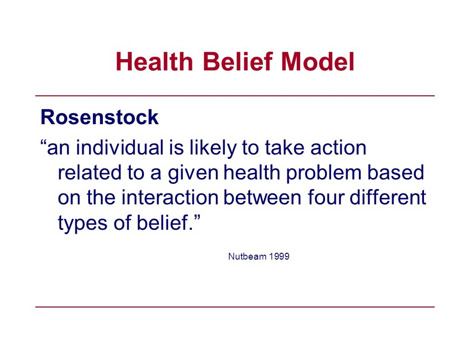 Health Belief Model Rosenstock