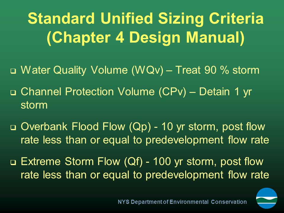 Standard Unified Sizing Criteria (Chapter 4 Design Manual)