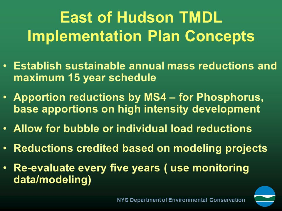 East of Hudson TMDL Implementation Plan Concepts