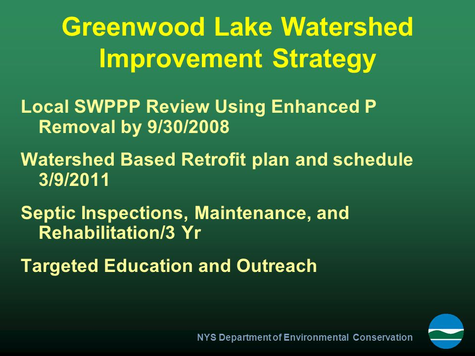 Greenwood Lake Watershed Improvement Strategy