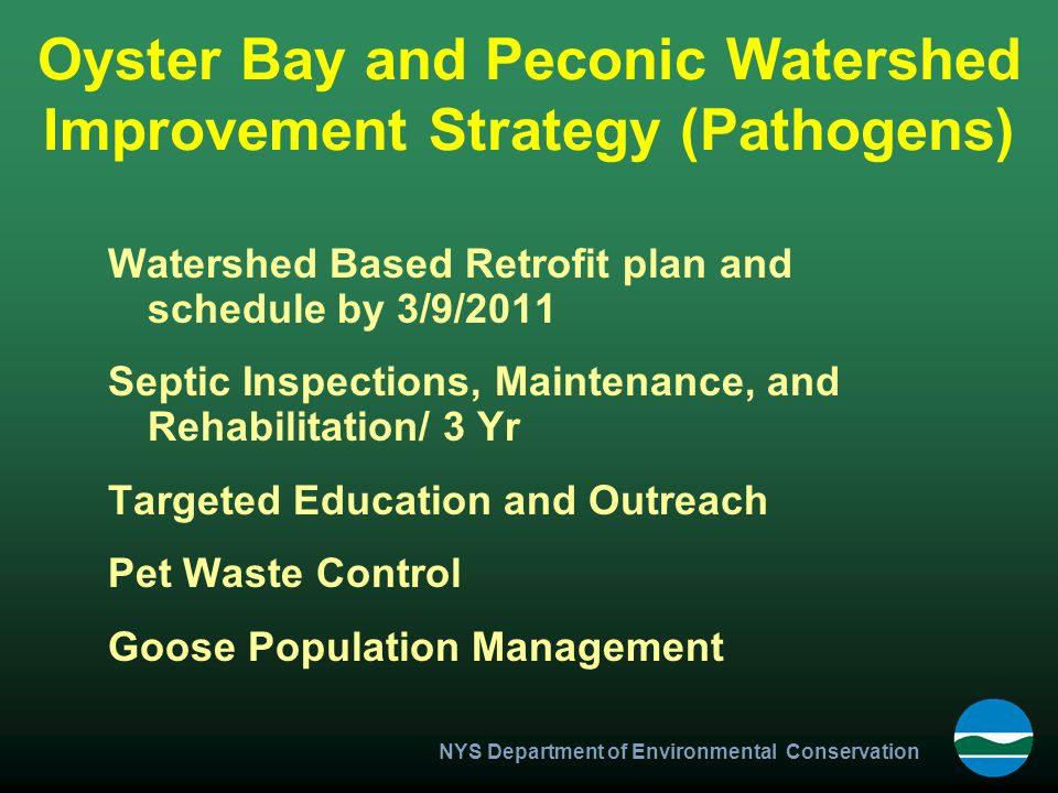 Oyster Bay and Peconic Watershed Improvement Strategy (Pathogens)