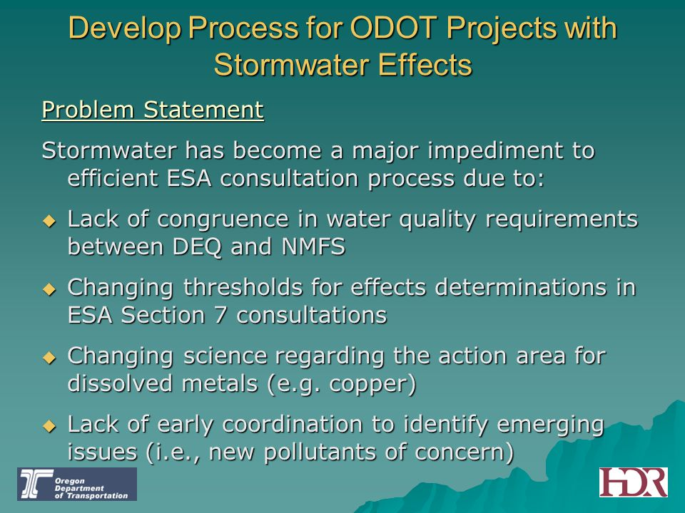 Develop Process for ODOT Projects with Stormwater Effects