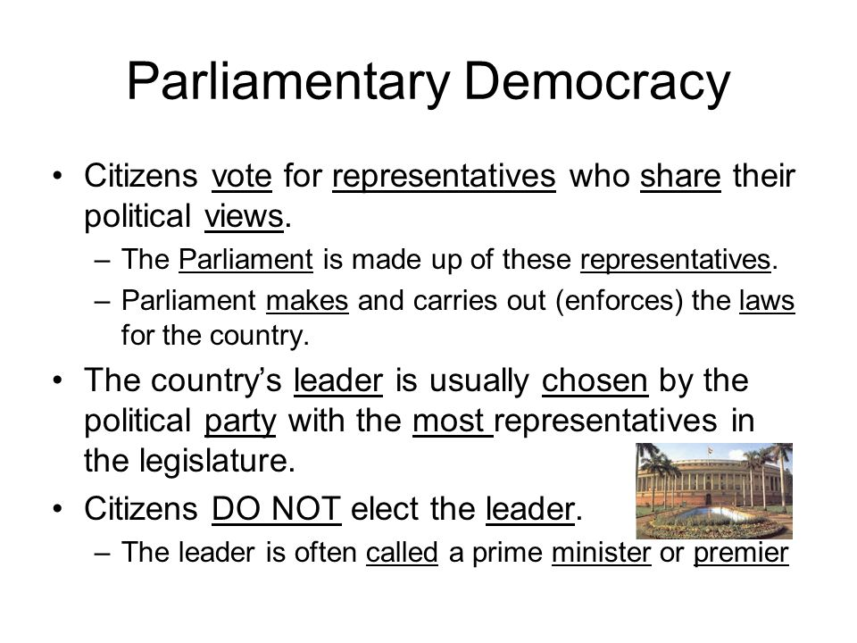 Parliamentary Democracy Do Now In a presidenti...