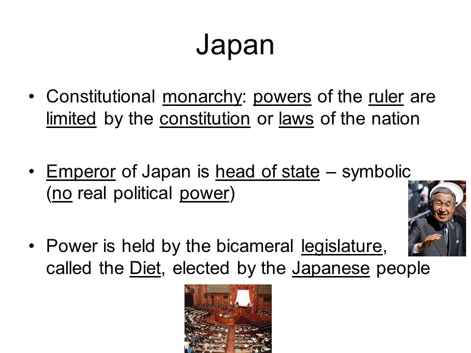 Japan Constitutional monarchy: powers of the ruler are limited by the constitution or laws of the nation.