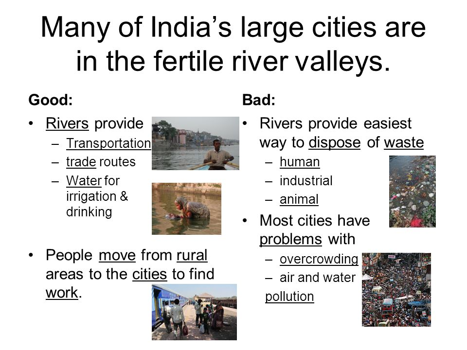 Many of India's large cities are in the fertile river valleys.