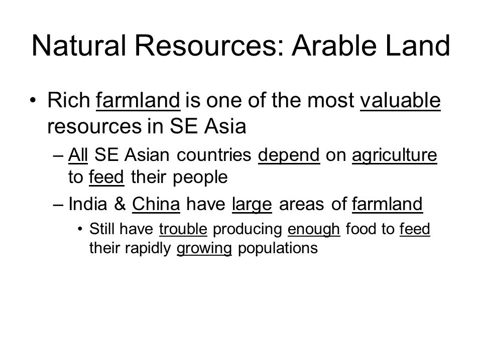 Natural Resources: Arable Land